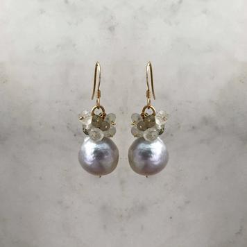 Pearl & Gemstone Cluster Earrings