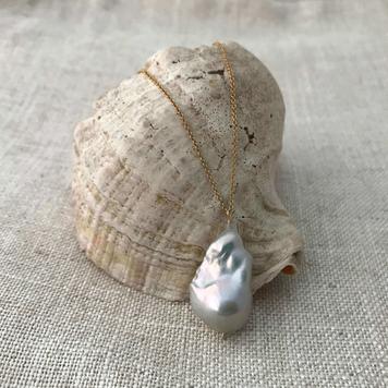 Baroque Pearl & Sapphire Pendant