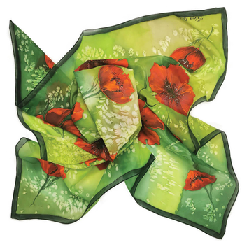 Poppies – Handpainted Silk Scarf
