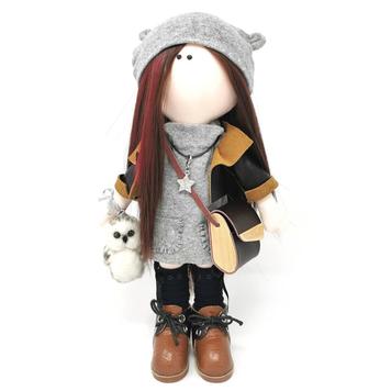Chloe - Handmade doll with needle felted owl