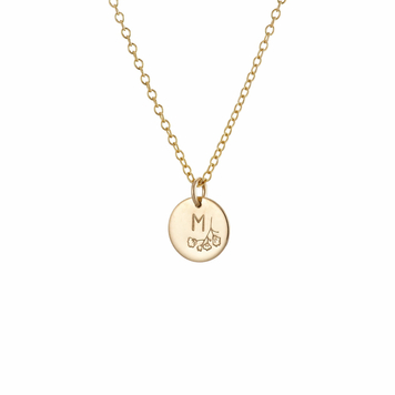 Floral Initial Necklace Gold