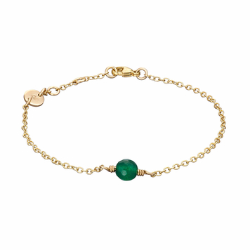 Gold initial bracelet with birthstone