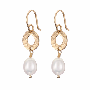 Gold drop pearl earrings