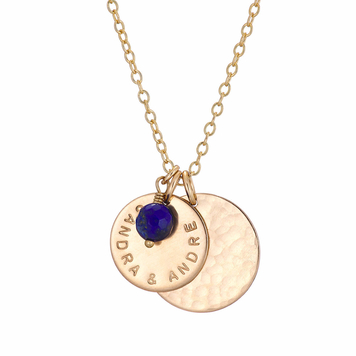 Gold personalised necklace with double disc and birthstone