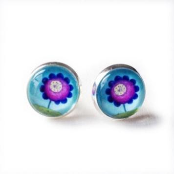 """Post Earrings """"Purple Flower"""""""