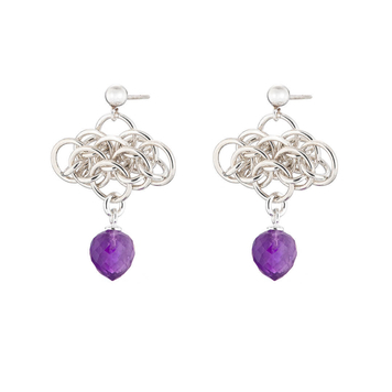 """""""Nymph Amethyst"""" earrings - sterling silver chainmaille and amethyst briolette earrings"""