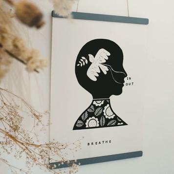 Lino Print - Breathe