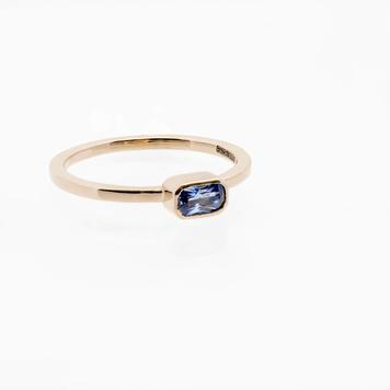Rectangular Blue Sapphire ring