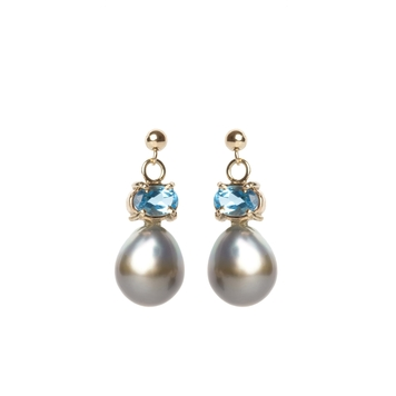Tahitian pearls and blue topaz gold earrings