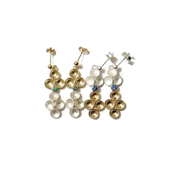 7 dimples and sapphires two tone earrings