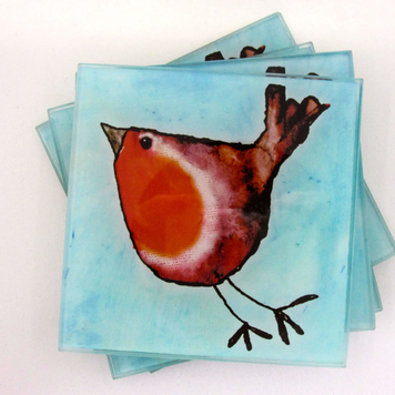 Glass Coasters: Robin