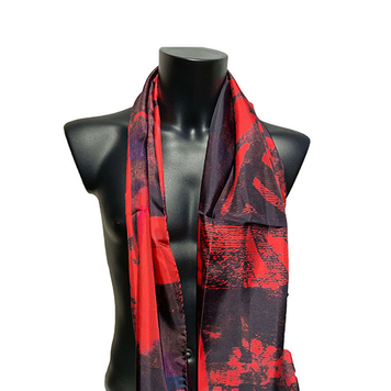 Mens 100% Silk Scarf - Red