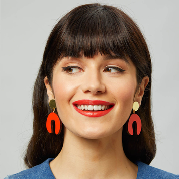D Doodle Earrings in Red