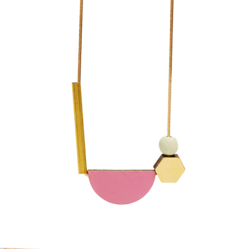 Multishape Plus Necklace in Dirty Pink & Sage