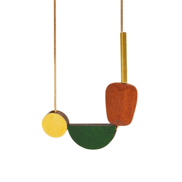 Multishape Plus Necklace in Dark Green