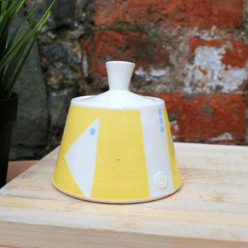 Sunshine Yellow Geo Sugar Bowl