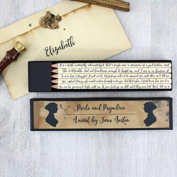 Pride and Prejudice Jane Austen Quote Pencils
