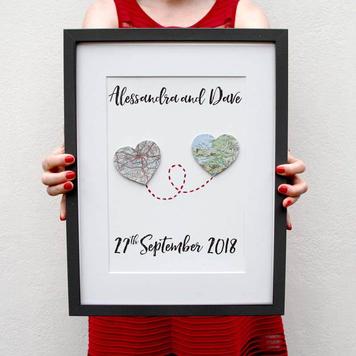 Wedding & Anniversary Custom Map Heart Artwork
