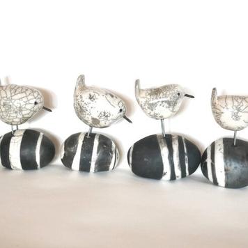 Wren on Ceramic Stone - Raku Fired