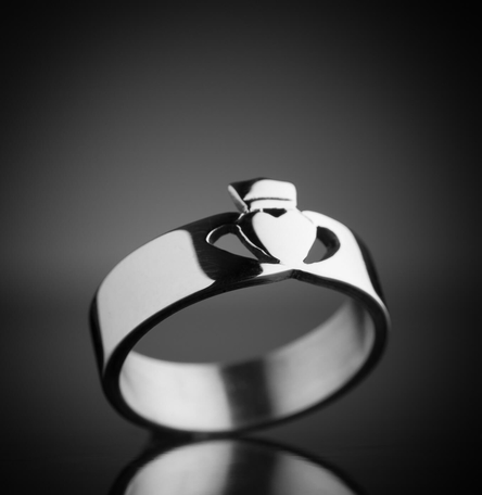 Contemporary Claddagh Ring Silver