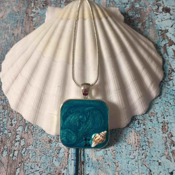 Pendant - Sea Blues with Seashell