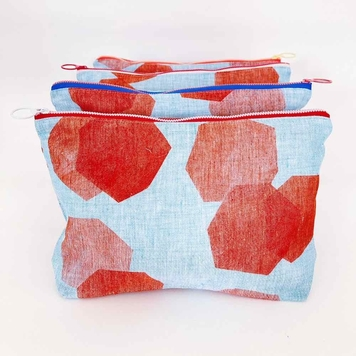 Large Irish Linen Hex Print Pouch