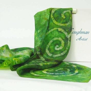 Silk Scarf Celtic Green Finch