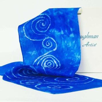 Silk Satin Neck Scarf Blue Spiral