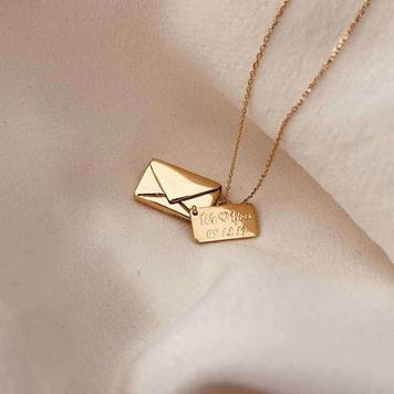 Signature Envelope Necklace, 18ct Gold