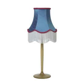 Viridian Blue Silk Fringed Bell Lampshade