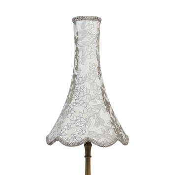 Grey Leaf Embroidered Chimney Bell Lampshade