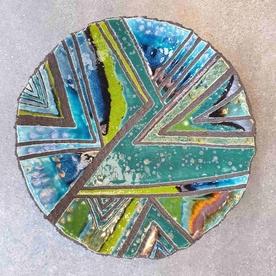 Jade Scrafito Dish Large