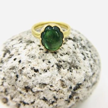 Scalloped Tourmaline Gold Ring
