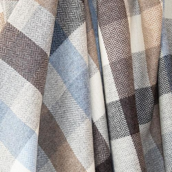 Light Blue & Cream Check Donegal Tweed Fabric