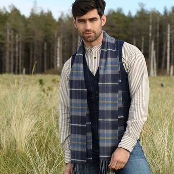 Merino Wool Scarf, Navy, Grey & Yellow Check