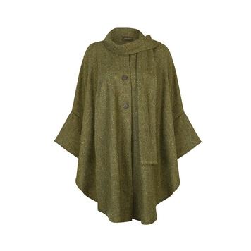 Donegal Tweed Cape, Olive Green Herringbone