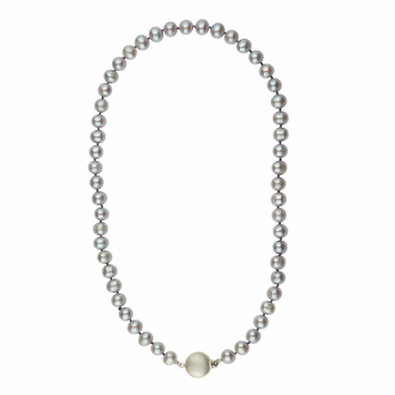 Grey freshwater cultured pearl hand knotted necklace