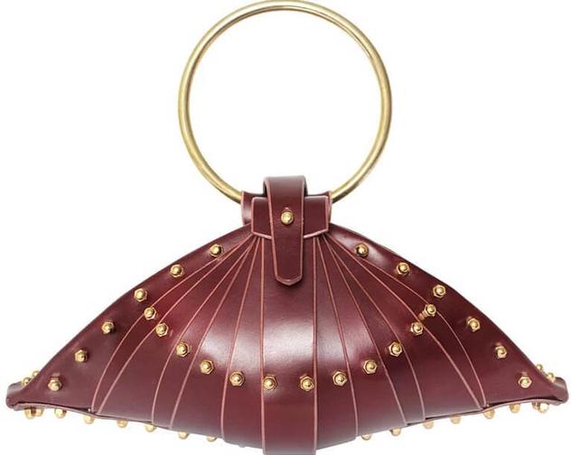 Una Burke Leather Shell Bag Merlot