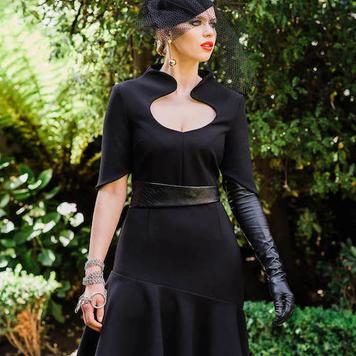 Sweetheart Black Leather Belt Dress