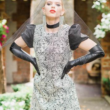 Patterned Jacquard Mini Dress