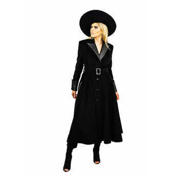 Black Pure Wool Flare 45″ Long Coat