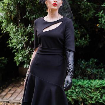 Black Slash Cut-Out Flare Dress