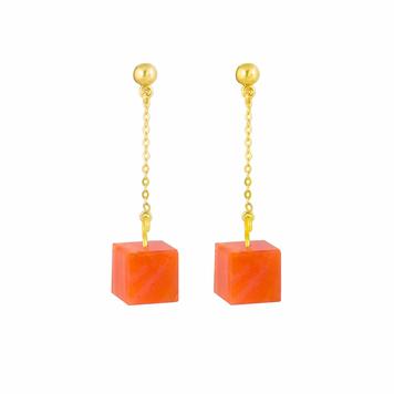 Stud and Chain Earrings - Carnelian