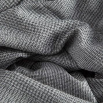 Glen Check Wide Scarf in Light Grey